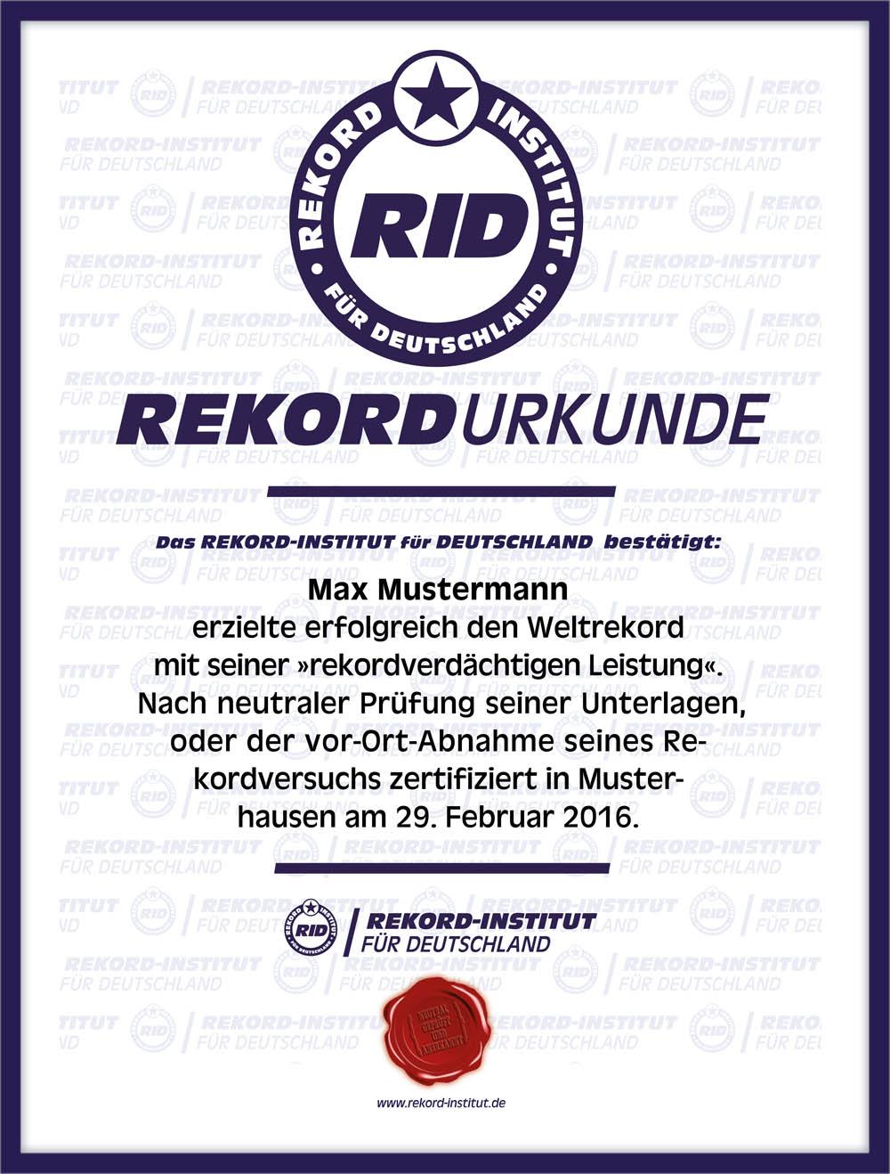 RID-Rekordurkunde